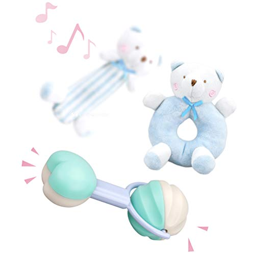 Desiderio Sky - Giocattolo massaggiagengive per bambini, 9 pezzi, giocattolo per la dentizione sensoriale, per neonati, educativo e musicale, per bambini da 3 a 12 mesi, colore: blu