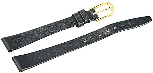 LEONARDO VERRELLI-Uhrenarmband Ersatz Echt Leder Breite 10-12 mm Dornschließe (Stegbreite: 12 mm, dunkelblau)