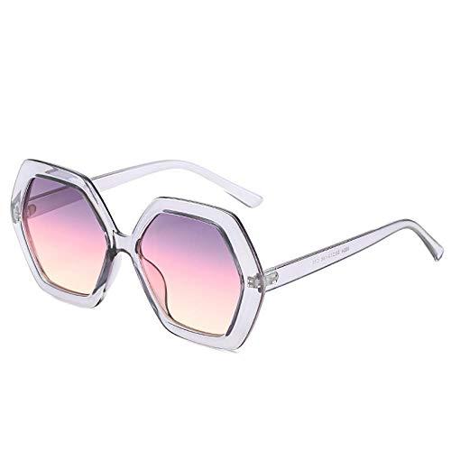QINGZHOU Sonnenbrillen,Damen Sonnenbrille Retro Polygonale Brille Großen Rahmen Strahlenschutzbrille, Grauer Rahmen Lila Pulvertabletten