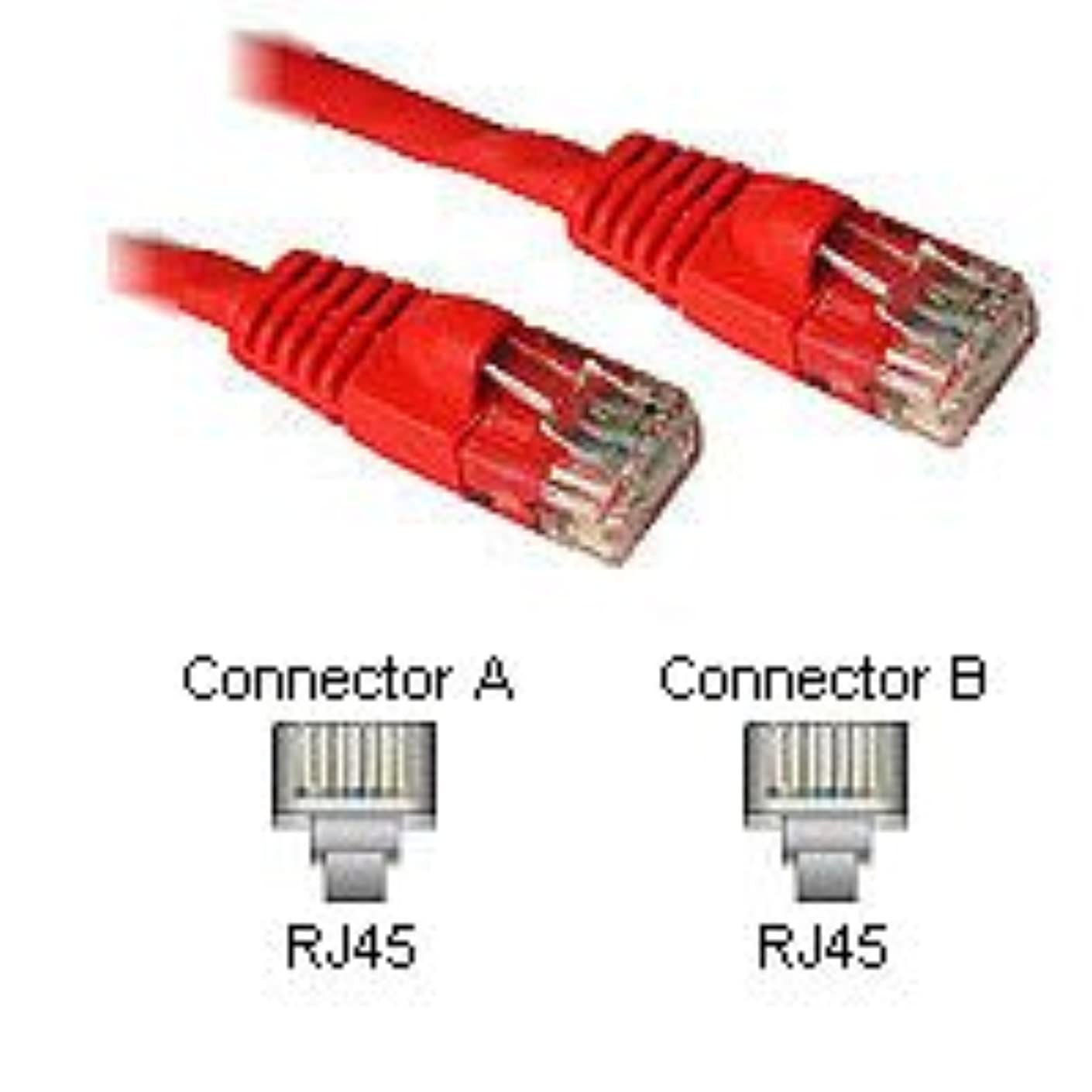 2 Pack of 5Ft Cat5e 350mhz Molded Snagless Style Ethernet Network Patch Cable - Red LL80671. for use with Computers or Hubs or Switches or Patch Panels