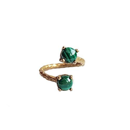 Malachite Ring - statement natural green malachite gemstone ring for women