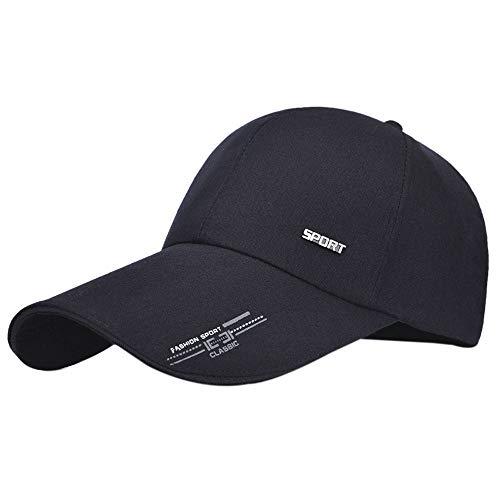 GUMONI Unisex Kappe Bedruckte Lange Krempe für Herren Damen Baseball Cap Segeltuch Trucker Mütze Sonnenblende Schwarz