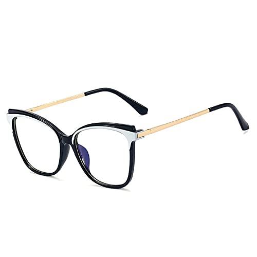 Gafas Luz Azul,Fashion Cat Eye Tr90 Montura De Anteojos Ópticos para Mujer, Gafas Transparentes Anti Luz Azul, Montura De Anteojos para Hombre con Bisagra De Resorte Retro, Blanco Negro, Talla Única