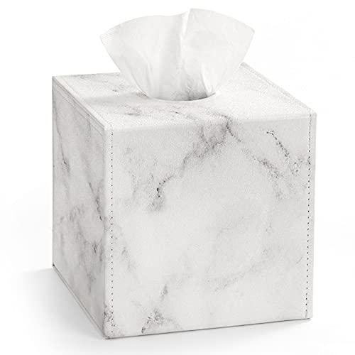 Luxspire Caja para Pañuelos de Papel de PU, Funda Caja Cuadrada Dispensador de Pañuelos con Fondo Magnético para Lavabo, Muebles del Baño, Hogar, Domitorio - Mármol Blanco