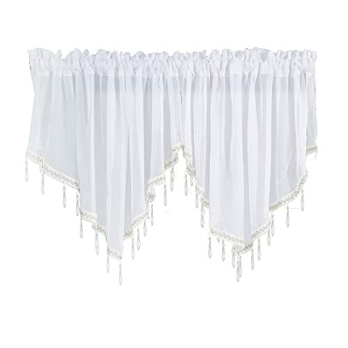 JAIJY Sheer Solid Country Curtain Drapes Window Treatment Valances Beaded Ascot Rod Pocket Curtains for Small Window Garden Living Room Home Bedroom Kitchen Cafe Farmhouse, 2 Panels, White