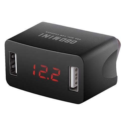 Senmubery Adaptador de Cargador USB Dual Carga OBD para AutomóVil Universal 12V 24V Pantalla de Voltaje LED Enchufe del Cargador del AutomóVil Potencia de Carga RáPida