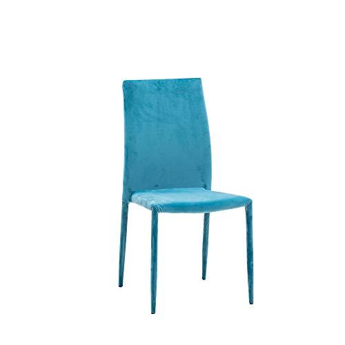 Cribel, Set 6 sedie Mimì Acqua Marina, Velluto Acqua Marina, Design Moderno, Ideali per Sala da Pranzo, Soggiorno, Living