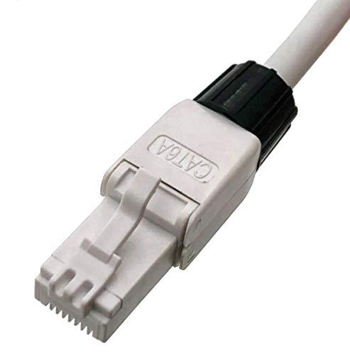 odedo 10x Crimpstecker werkzeugfrei CAT 6A UTP RJ45 Netzwerkstecker Steckverbinder Crimp Stecker für Patchkabel, Verlegekabel bis 8mm AWG 22-24 werkzeugfreie Montage mit vergoldeten Kontakten