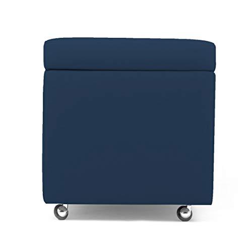 Arketicom Pandora Swing Pouf Contenitore con Ruote Ecopelle Puff Design 42X42h Blu Notte
