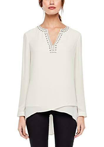 s.Oliver BLACK LABEL Damen Crêpe-Blusenshirt mit Ziernieten Cream 38
