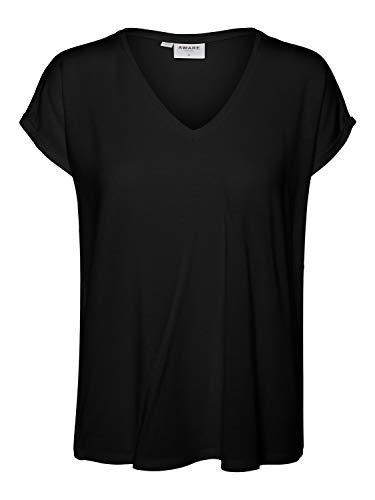 VERO MODA Womens VMAVA SS V-Neck Tee VMA NOOS T-Shirt, Black, S