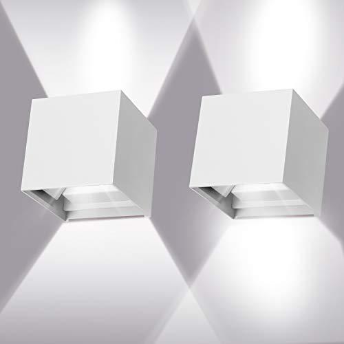 ledmo 2 Pack 12W LED Wandleuchten draussen/innen 6000K Weiß Wandlampe mit verstellbarem Lichtstrahl Wandleuchte IP65 wasserdichte