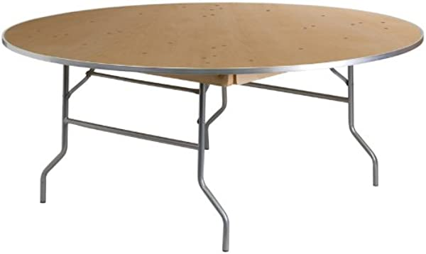 Flash Furniture 72 Round HEAVY DUTY Birchwood Folding Banquet Table With METAL Edges