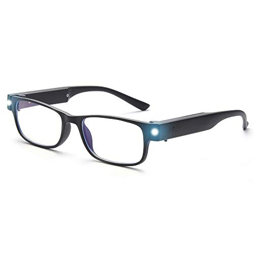 OuShiun Reading Glasses with Light Bright LED Readers Blue Light Blocking Anti Eyestrain Square Eyeglasses USB Rechargeable Lighted Nighttime Clear Vision Unisex (Black, 2.5)