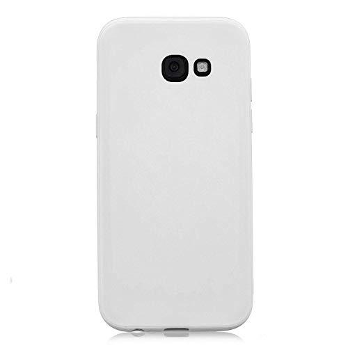 cuzz Funda para Samsung Galaxy A5 2017+{Protector de Pantalla de Vidrio Templado} Carcasa Silicona Suave Gel Rasguño y Resistente Teléfono Móvil Cover-Blanco