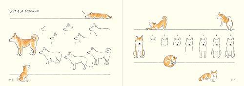 約80種類の動物をその動物らしく描けるようになるレッスン帳です。たとえば、犬。犬をかたちでとらえるとき、頭、胴体、足の3ブロックに分けて考えると分かりやすくなります。