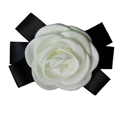 Cheerlife Ansteckblumen Brosche Krawatte Brosche Kamelie Boutonniere Haarclip Haarklipp Blumen Haarspange Beige 2