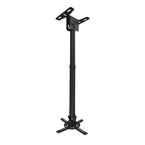 TooQ PJ3030TN-B - Soporte inclinable y giratorio de techo para proyector, hasta 20 Kg, ajustable entre 575mm hasta 825mm, inclinacion +/- 20º, giro de 360º, incluye kit de montaje, color negro