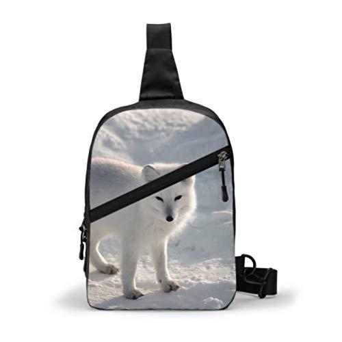Umhängetaschen für Jungen Tierliebhaber Arctic Fox Female Chest Bag Brusttasche Wasserdichte Damen Umhängetaschen mit verstellbarem Gurt für Männer oder Frauen Radfahren Wandern