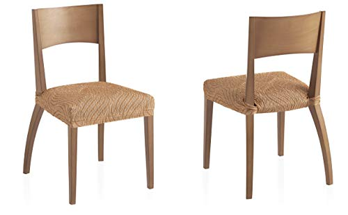 Bartali Pack Dos Fundas elásticas sillas Aitana - Color beige -Tamaño (45 x 45 cm).