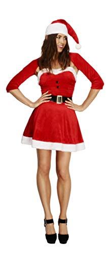 Smiffys Costume Fever de Santa Babe, rouge, avec robe, chape