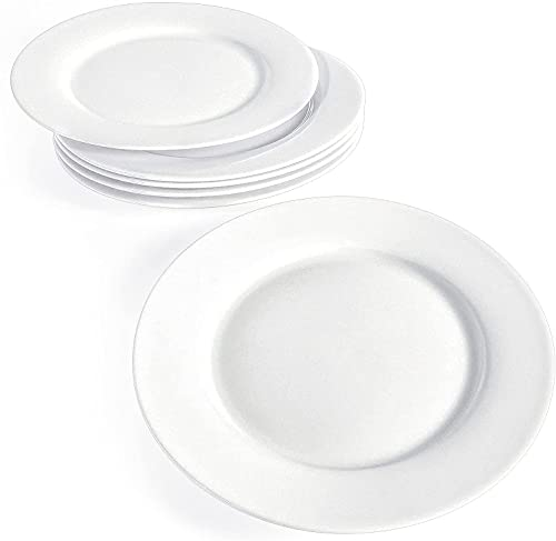 Artena Dessert Plates Set of 6, 7.5 inch White Salad Plates, Small Dinner Plates for Party, Premium Porcelain Appetizer Plates for Wedding, Serving Plates for Sides Dish, Snack, Microwave Oven Safe