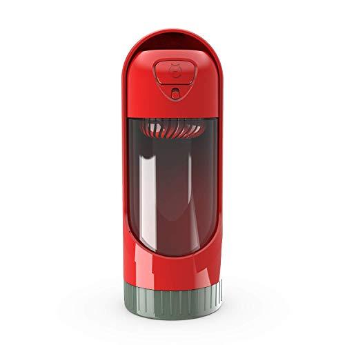 SHANNA Hunde-Wasserflasche zum Gehen, tragbare Hundetrinkflasche mit Aktivkohlefilter für Spaziergänge im Freien, Reisen, auslaufsicher, herausziehbar, umweltfreundlicher Kunststoff ABS (Crimson)