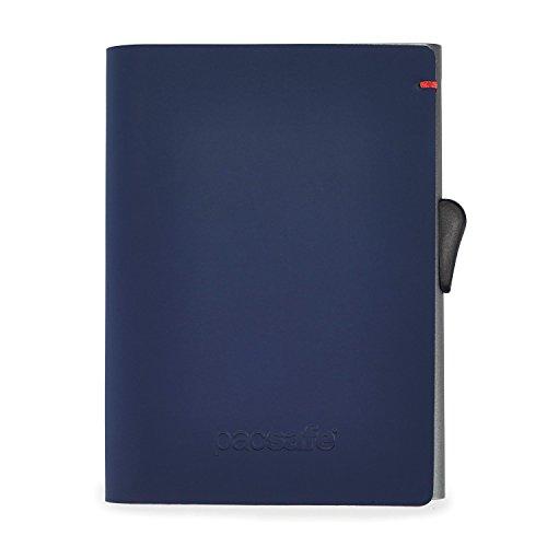 Pacsafe RFIDsafe TEC Slider Wallet für 5 Kreditkarten, Scheinfach, Kreditkartenetui mit Anti-Diebstahl Schutz, PU Kartenhalter im schlanken Design, Geldbörse mit RFID Technologie, Blau/Rot