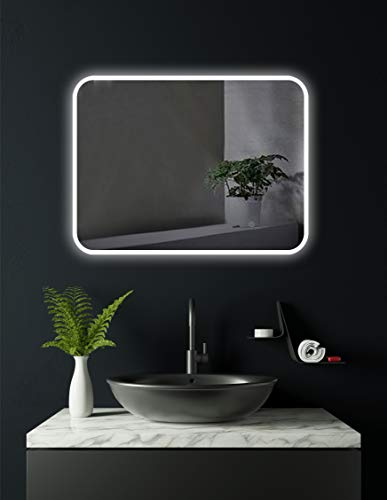 HOKO® LED Spiegel Berlin 60x80cm, waagerecht und senkrecht zu montieren, Badezimmerspiegel mit LED Beleuchtung außen, Badspiegel mit Licht, Energieklasse A+ (WEEE-Reg. Nr.: DE 40647673) (60 x 80 cm)