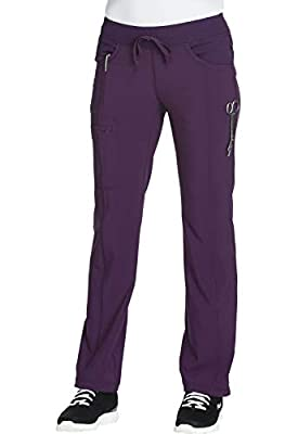 CHEROKEE Infinity Low Rise Straight Leg Drawstring Pant, 1123A, S, Eggplant