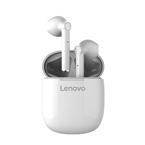 Lenovo Audio HT30 True Wireless Earbuds, Bluetooth 5.0, IPX5 Sweat and Water Resistant, In-Ear Earphones with Microphone and Bass Control, Fast Recharge with Magnetic Case, White