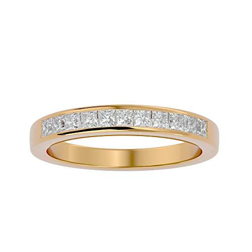 Anillo de oro de 18 quilates con diamante natural de corte princesa (0,55 quilates) con anillo de boda de oro blanco/amarillo/rosa para mujer