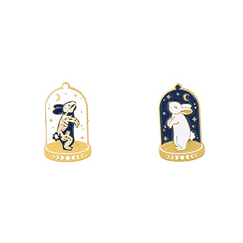 2Pcs Alloy Brooch Badge Pins Set Punk Creative Rabbit Pins for DIY Backpacks Hats Cowboy Jackets Jewelry Student Toys Gifts