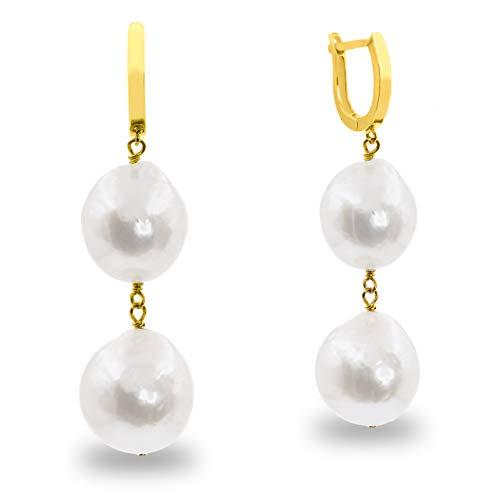 Pendientes de Mujer con Dos Perlas Cultivadas de Agua Dulce Barrocas Blancas Grandes de 12-13 mm SECRET & YOU - Diseño en Plata de Ley de 925 milésimas Bañada en Oro de 18k