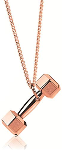 Damen Halskette Titanstahl Kette Exquisite Hantel Anhänger Bodybuilding Paar Halskette Influx Geburtstagsgeschenk (Send Geschenkbox ) Halskette Verbessern, rose gold