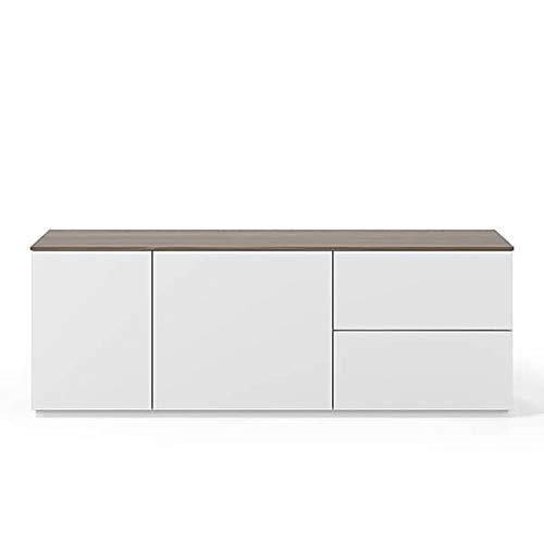 Buffets Design et élégants, Collection Join, signée TEMAHOME. - Join 160L2, Base Classique, Blanc Mat, Plateau en Noyer
