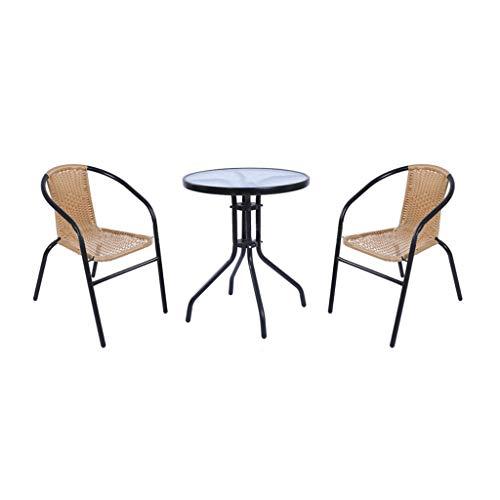 FeaturePoly Rotan Tuinmeubelen Eettafel Stoelen Set 2Zits Outdoor Patio ConservatoryBistro