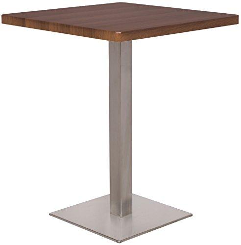 SixBros. Bartisch Bistrotisch Tisch Nussbaum Holzoptik Eckig Edelstahlfuß 60x60x75 - M-BT60/1431