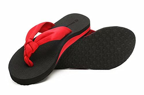 SincereWay Damen Yoga Schaum bequemer Anti-Rutsch Flip-Flops Silk Tuch Bügel Strand Thong Sandalen mit Senkfußeinlage(Rot,38)