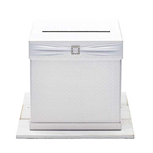 """Hayley Cherie - Gift Card Box with Rhinestone Slider & 7 Ribbon Colors - White Textured Finish - Perfect for Weddings, Baby Showers, Birthdays, Graduations - Large Size 10"""" X 10"""""""