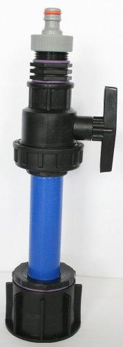 AME90R13 _ 9482 + 99 Tube d'écoulement avec tube plastique DN32, 100 mm AG 1 + boule plastique robinet, Mamelon double et fiche adaptateur compatible avec Gardena, IBC Réservoir Eau de Pluie de Accessoires de conteneurs Mamelon de Bidon