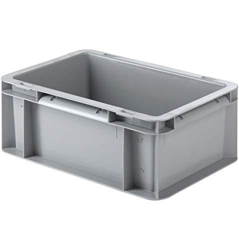 SSI Schäfer EF 3120 Eurokiste Kunststoffbox Transportbox offen ohne Deckel, 300x200 mm, 4,2 l, 15 Kg Tragkraft, Made in Germany, Grau