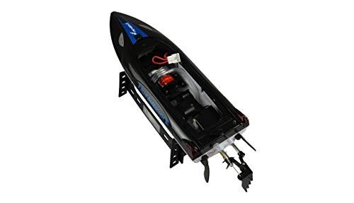 Amewi 26093 Blue Barracuda V2 Mini Boot 2,4GHz RTR, Safeschalter, kentersicher, doppelte Abdeckung, Schwarz-Blau