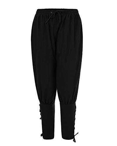 LiangZhu Pantalons pour Hommes Décontractés Et Lacets Latéraux Médiéval Pantalon Viking De Plage Noir L