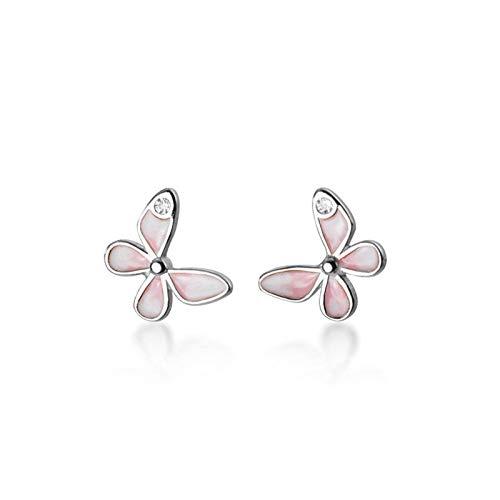 Pendientes 925 STERLINAL Silla Minimalista Zircon Butterfly Stud Poder para