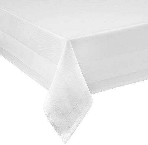 Damast Tischdecke weiß - 130 x 220 cm - bei 95°C waschbar Feinste Vollzwirn 100% Baumwolle mercerisiert aus hochwertigem Ringgarn
