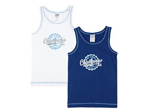 Jacky Jungen Unterhemden, 2er-Pack, Größe: 110/116, Alter: 5-6 Jahre, Weiß/Blau, 770050