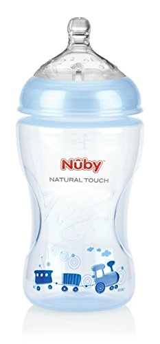 Nuby NT68009 Natural Touch Weithalsflasche 330 ml, blue Design