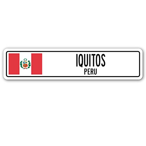 Iquitos, Peru calle signo del Perú Bandera Ciudad País carretera ...