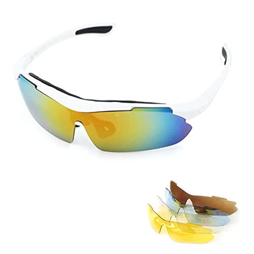 LXQLLJJD Gafas De Sol Deportivas Polarizadas con 5 Lentes Intercambiables, Dureza Y Resistencia Al Impacto, Aptas para Montar, Conducir, Pescar Y Deportes De Béisbol Al Aire Libre,Blanco